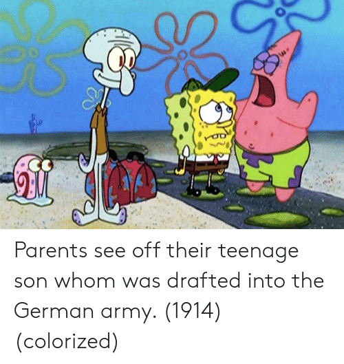 german army: Parents see off their teenage son whom was drafted into the German army. (1914) (colorized)