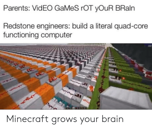 literal: Parents: VidEO GaMeS rOT yOuR BRaln  Redstone engineers: build a literal quad-core  functioning computer Minecraft grows your brain