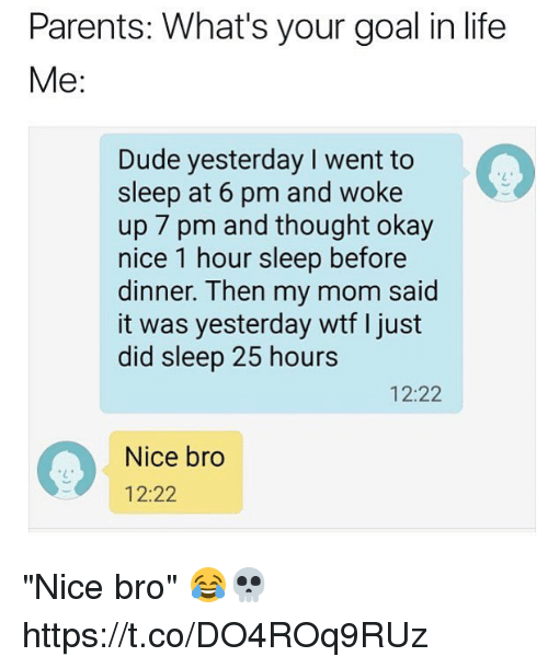 """Dude, Life, and Memes: Parents: What's your goal in life  Me:  Dude yesterday I went to  sleep at 6 pm and woke  up 7 pm and thought okay  nice 1 hour sleep before  dinner. Then my mom said  it was yesterday wtf I just  did sleep 25 hours  12:22  Nice bro  12:22 """"Nice bro"""" 😂💀 https://t.co/DO4ROq9RUz"""