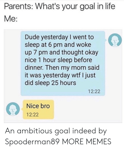 Ambitious: Parents: What's your goal in life  Me:  Dude yesterday I went to  sleep at 6 pm and woke  up 7 pm and thought okay  nice 1 hour sleep before  dinner. Then my mom said  it was yesterday wtf I just  did sleep 25 hours  12:22  Nice bro  12:22 An ambitious goal indeed by Spooderman89 MORE MEMES