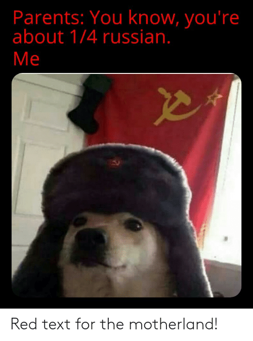 Motherland: Parents: You know, you're  about 1/4 russian.  Me Red text for the motherland!