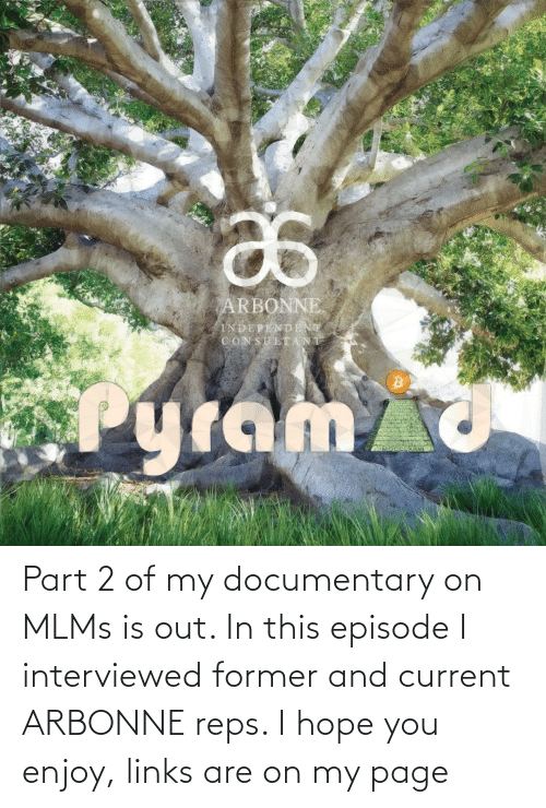 links: Part 2 of my documentary on MLMs is out. In this episode I interviewed former and current ARBONNE reps. I hope you enjoy, links are on my page