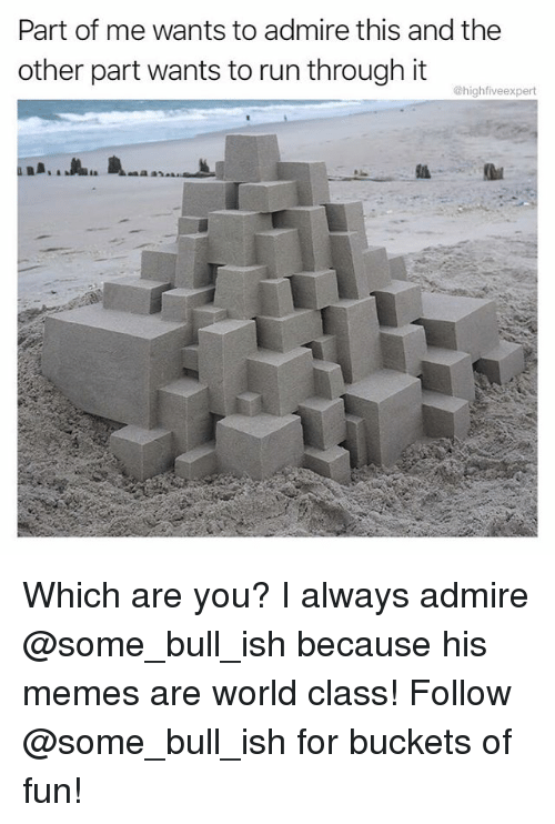 Memes, Run, and World: Part of me wants to admire this and the  other part wants to run through it  @highfiveexpert  ·上..  is Which are you? I always admire @some_bull_ish because his memes are world class! Follow @some_bull_ish for buckets of fun!