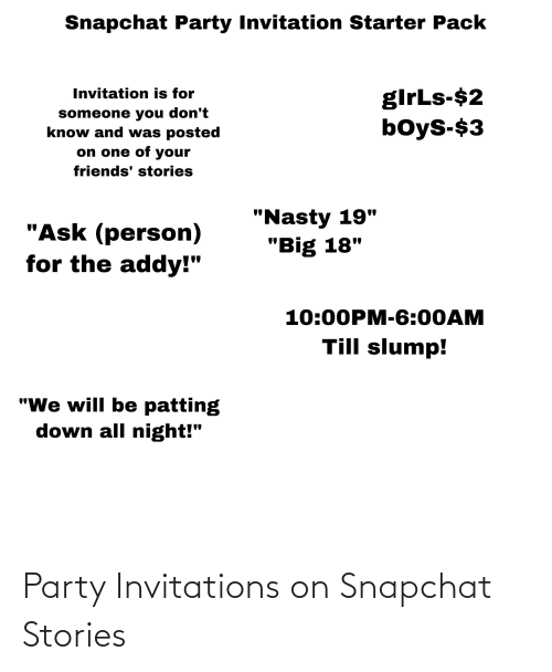 invitations: Party Invitations on Snapchat Stories