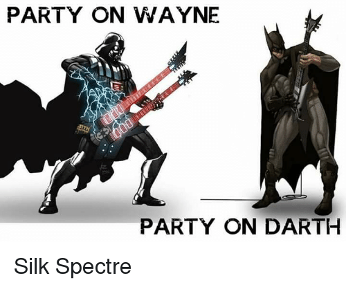 Memes, Party, and 🤖: PARTY ON WAYNE PARTY ON DARTH Silk Spectre