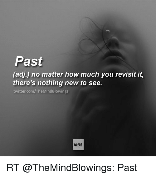 Memes, 🤖, and Adi: Past  (adi) no matter how much you revisit it,  there's nothing new to see.  twitter.com/TheMindBlowings  WORDS RT @TheMindBlowings: Past