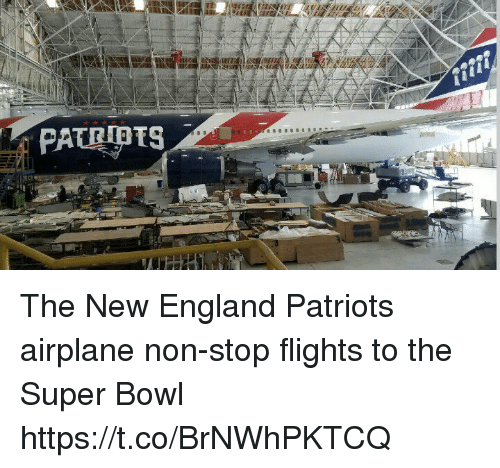 England, Memes, and New England Patriots: PATEPTS The New England Patriots airplane   non-stop flights to the Super Bowl https://t.co/BrNWhPKTCQ