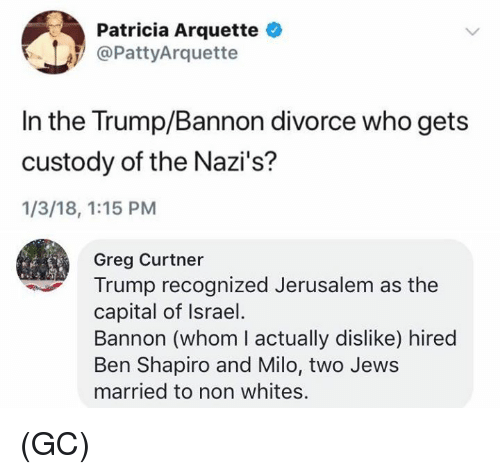 milo: Patricia Arquette  @PattyArquette  In the Trump/Bannon divorce who gets  custody of the Nazi's?  1/3/18, 1:15 PM  Greg Curtner  Trump recognized Jerusalem as the  capital of Israel  Bannon (whom I actually dislike) hired  Ben Shapiro and Milo, two Jews  married to non whites. (GC)