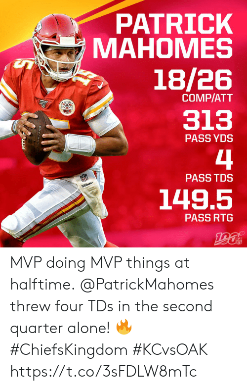 comp: PATRICK  МАНОМES  18/26  COMP/ATT  313  PASS YDS  4  NFL  PASS TDS  Dilson  149.5  PASS RTG  NFL  OTBALL LEACUE MVP doing MVP things at halftime.  @PatrickMahomes threw four TDs in the second quarter alone! 🔥 #ChiefsKingdom #KCvsOAK https://t.co/3sFDLW8mTc