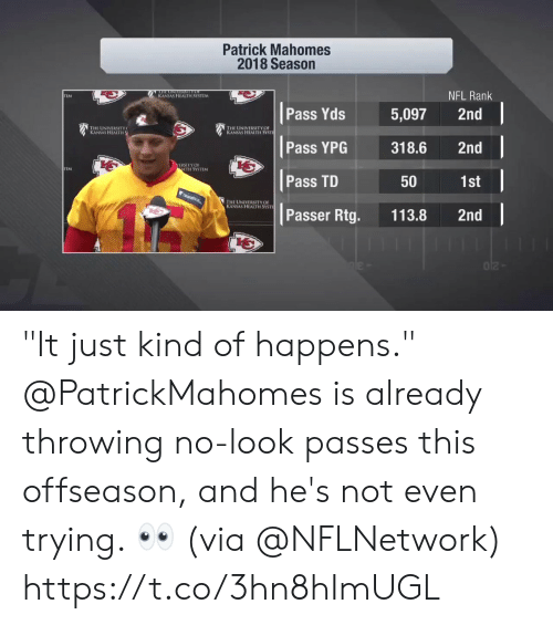 """rank: Patrick Mahomes  2018 Season  NFL Rank  KANSAS HEALTH SYSTLM  TEM  Pass Yds 5,097 2nd  寶1  THE UNIVERSITY  KANSAS HEALTH  HE UNIVERSITY OF  s HEALTH SYSTİ  Pass YPG318.6 2nd  b七  ERSITYOF  LTH SYSTEM  Pass TD  1st  50  HE UNIVERSITY OF  S HEALTH SYSTI  Passer Rtg. 113.8 2nd """"It just kind of happens.""""  @PatrickMahomes is already throwing no-look passes this offseason, and he's not even trying. 👀 (via @NFLNetwork) https://t.co/3hn8hImUGL"""