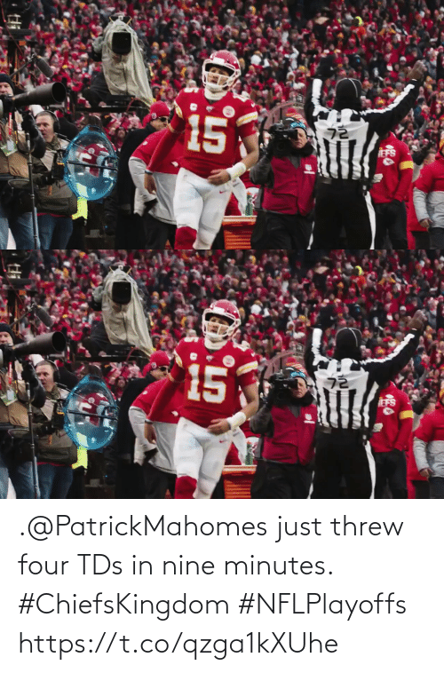 tds: .@PatrickMahomes just threw four TDs in nine minutes. #ChiefsKingdom #NFLPlayoffs https://t.co/qzga1kXUhe