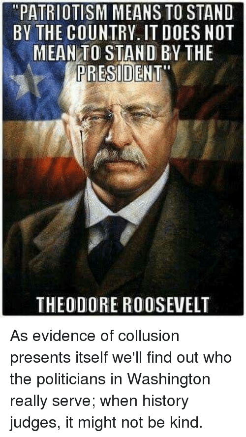 "theodore roosevelt: ""PATRIOTISM MEANS TO STAND  BY THE COUNTRY, IT D0ES NOT  MEAN TO STAND BY THE  PRESIDENT  THEODORE ROOSEVELT As evidence of collusion presents itself we'll find out who the politicians in Washington really serve; when history judges, it might not be kind."