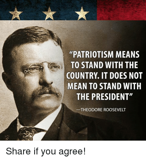 """Mean, Patriotism, and Theodore Roosevelt: """"PATRIOTISM MEANS TO STAND WITH THE COUNTRY"""
