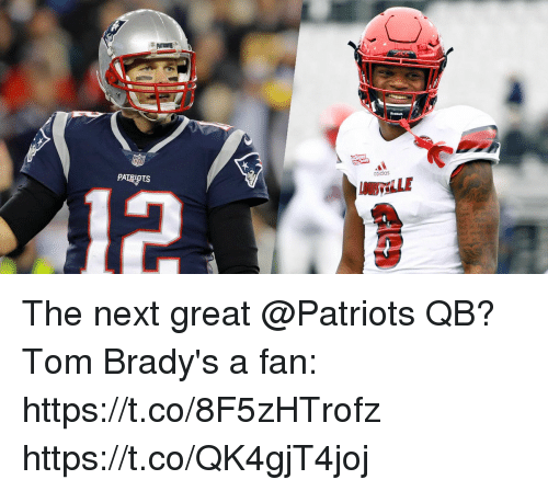 Adidas, Memes, and Patriotic: PATRIOTS  adidas The next great @Patriots QB?  Tom Brady's a fan: https://t.co/8F5zHTrofz https://t.co/QK4gjT4joj