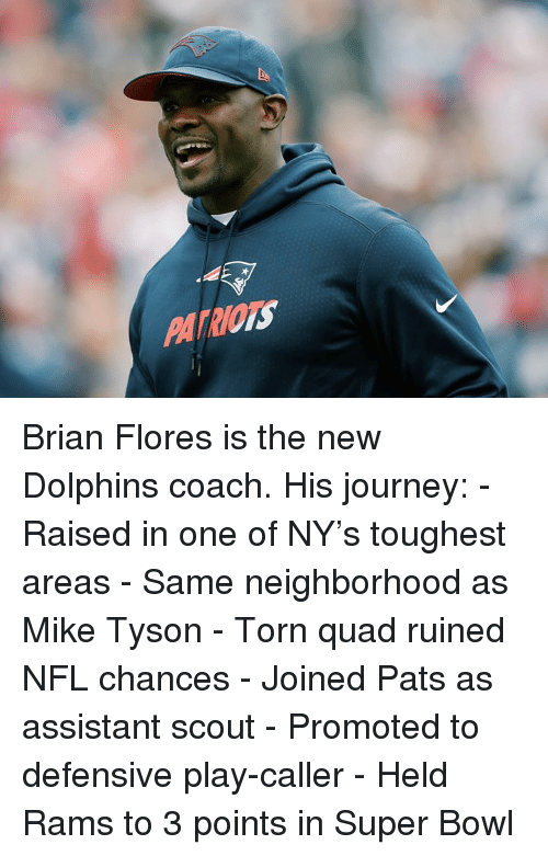 Mike Tyson: PATRIOTS Brian Flores is the new Dolphins coach.  His journey: - Raised in one of NY's toughest areas - Same neighborhood as Mike Tyson - Torn quad ruined NFL chances - Joined Pats as assistant scout - Promoted to defensive play-caller - Held Rams to 3 points in Super Bowl