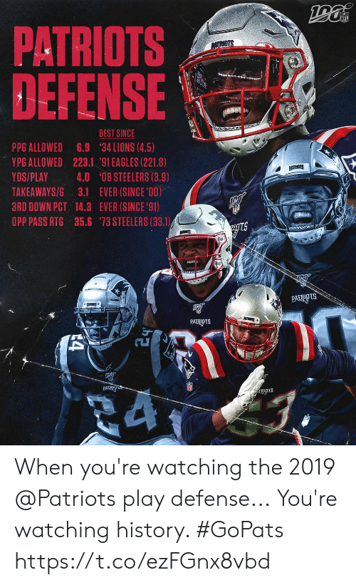ppg: PATRIOTS  DEFENSE  PATRIOTS  BEST SINCE  PPG ALLOWED  YPG ALLOWED 223.1 '91 EAGLES (221.8)  6.9  34 LIONS (4.5)  PATRIGTS  YDS/PLAY  4.0 '08 STEELERS (3.9)  TAKEAWAYS/G 3.1 EVER (SINCE '00)  3RD DOWN PCT 14.3 EVER (SINCE 91)  OPP PASS RTG 35.6 73 STEELERS (33.1)  ugts  PATTS  PATRIOTS  PATRIDtS When you're watching the 2019 @Patriots play defense...  You're watching history. #GoPats https://t.co/ezFGnx8vbd