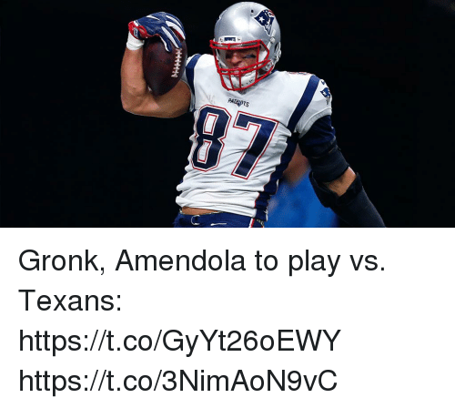 Memes, Patriotic, and Texans: PATRIOTS Gronk, Amendola to play vs. Texans: https://t.co/GyYt26oEWY https://t.co/3NimAoN9vC