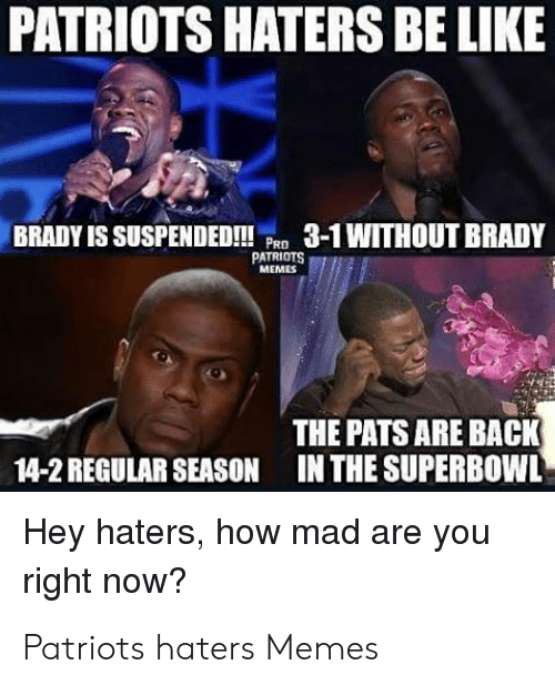 Pats Memes: PATRIOTS HATERS BE LIKE  BRADY IS SUSPENDED!3-1WITHOUT BRADY  PATRIOTS  MEMES  THE PATS ARE BACK  IN THE SUPERB0WL  14-2 REGULAR SEASON  Hey haters, how mad are you  right now? Patriots haters Memes