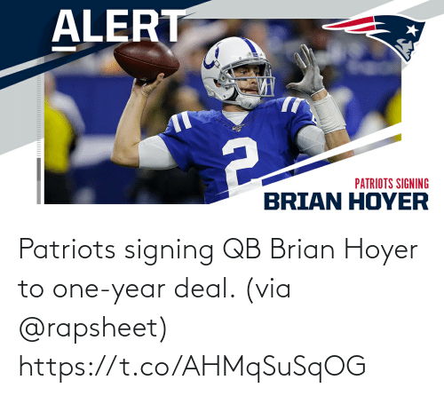 Signing: Patriots signing QB Brian Hoyer to one-year deal. (via @rapsheet) https://t.co/AHMqSuSqOG