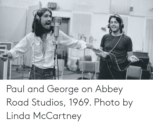 Linda: Paul and George on Abbey Road Studios, 1969. Photo by Linda McCartney