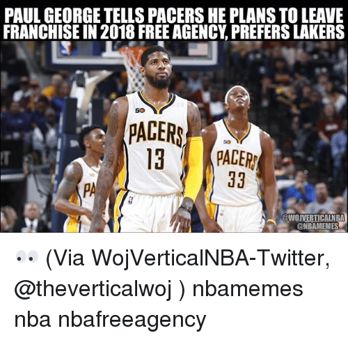 Basketball, Los Angeles Lakers, and Nba: PAUL GEORGE TELLS PACERSHE PLANSTOLEAVE  FRANCHISE IN 2018 FREE AGENCY PREFERS LAKERS  50  PACERS  13 PADERN  38  WOUVERTICALNBA 👀 (Via WojVerticalNBA-Twitter, @theverticalwoj ) nbamemes nba nbafreeagency