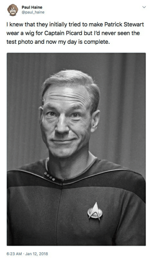captain picard: Paul Haine  @paul_haine  I knew that they initially tried to make Patrick Stewart  wear a wig for Captain Picard but l'd never seen the  test photo and now my day is complete.  6:23 AM Jan 12, 2018