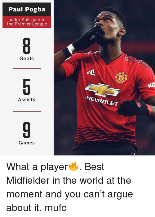 pogba: Paul Pogba  under Solskjaer in  the Premier League  Goals  HEVROLET  Assists  Games What a player🔥. Best Midfielder in the world at the moment and you can't argue about it. mufc