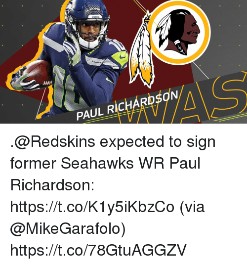 Memes, Washington Redskins, and Seahawks: PAUL RICHARDSON .@Redskins expected to sign former Seahawks WR Paul Richardson: https://t.co/K1y5iKbzCo (via @MikeGarafolo) https://t.co/78GtuAGGZV
