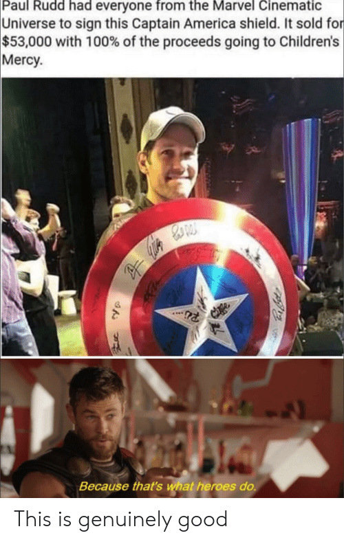 paul rudd: Paul Rudd had everyone from the Marvel Cinematic  Universe to sign this Captain America shield. It sold for  $53,000 with 100% of the proceeds going to Children's  Mercy  Because that's wat heroes do. This is genuinely good