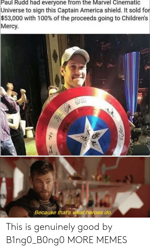 paul rudd: Paul Rudd had everyone from the Marvel Cinematic  Universe to sign this Captain America shield. It sold for  $53,000 with 100% of the proceeds going to Children's  Mercy  Because that's wat heroes do. This is genuinely good by B1ng0_B0ng0 MORE MEMES