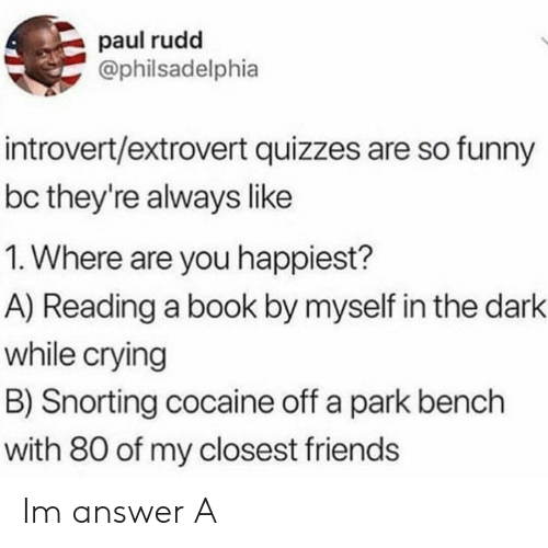 paul rudd: paul rudd  Ophilsadelphia  introvert/extrovert quizzes are so funny  bc they're always like  1. Where are you happiest?  A) Reading a book by myself in the dark  while crying  B) Snorting cocaine off a park bench  with 80 of my closest friends Im answer A