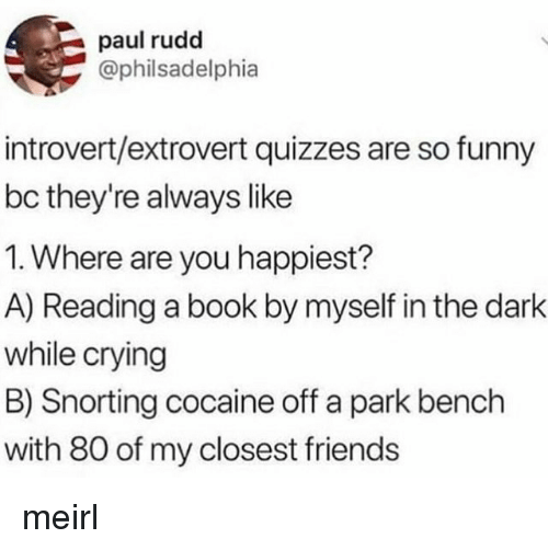 paul rudd: paul rudd  @philsadelphia  introvert/extrovert quizzes are so funny  bc they're always like  1. Where are you happiest?  A) Reading a book by myself in the dark  while crying  B) Snorting cocaine off a park bench  with 80 of my closest friends meirl