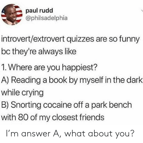 paul rudd: paul rudd  @philsadelphia  introvert/extrovert quizzes are so funny  bc they're always like  1. Where are you happiest?  A) Reading a book by myself in the dark  while crying  B) Snorting cocaine off a park bench  with 80 of my closest friends I'm answer A, what about you?