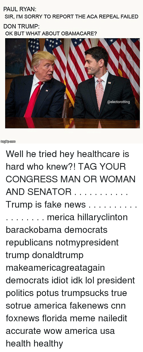 Florida Meme: PAUL RYAN  SIR, I'M SORRY TO REPORT THE ACA REPEAL FAILED  DON TRUMP:  OK BUT WHAT ABOUT OBAMACARE?  @electorotting Well he tried hey healthcare is hard who knew?! TAG YOUR CONGRESS MAN OR WOMAN AND SENATOR . . . . . . . . . . . Trump is fake news . . . . . . . . . . . . . . . . . . merica hillaryclinton barackobama democrats republicans notmypresident trump donaldtrump makeamericagreatagain democrats idiot idk lol president politics potus trumpsucks true sotrue america fakenews cnn foxnews florida meme nailedit accurate wow america usa health healthy