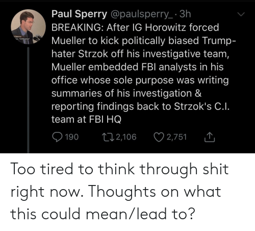 Trump Hater: Paul Sperry @paulsperry 3h  BREAKING: After IG Horowitz forced  Mueller to kick politically biased Trump  hater Strzok off his investigative team  Mueller embedded FBl analysts in his  office whose sole purpose was writing  summaries of his investigation &  reporting findings back to Strzok's C.I.  team at FBI HQ  Sperry.  190 2,1062,751 Too tired to think through shit right now. Thoughts on what this could mean/lead to?