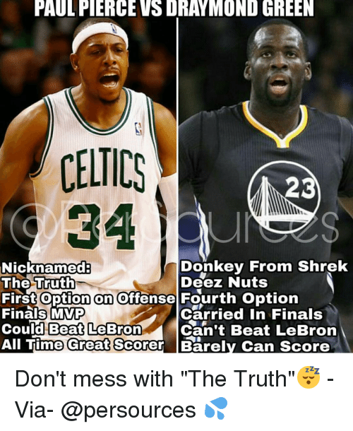 "Deeze Nuts: PAULFIERCEVSDRAYMOND GREEN  CELTICS  23  Donkey From Shrek  Nicknamed  The Truth  Deez Nuts  First option on offense Fourth option  Finals MVP  Carried in Finals  Could Beat LeBron  Can't Beat LeBron  All Time Great Scorer Barely Can score Don't mess with ""The Truth""😴 - Via- @persources 💦"