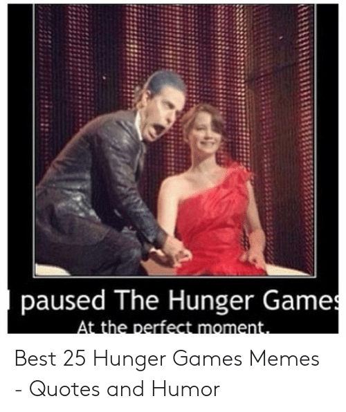 Hungry Memes: paused The Hunger Games  At the perfect moment. Best 25 Hunger Games Memes - Quotes and Humor