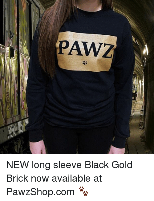 Memes, 🤖, and Brick: PAW3 NEW long sleeve Black Gold Brick now available at PawzShop.com 🐾