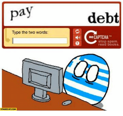 Captchas: pay  Type the two words:  STARECA.COM  debt  Re CAPTCHA  stop spam  read books.