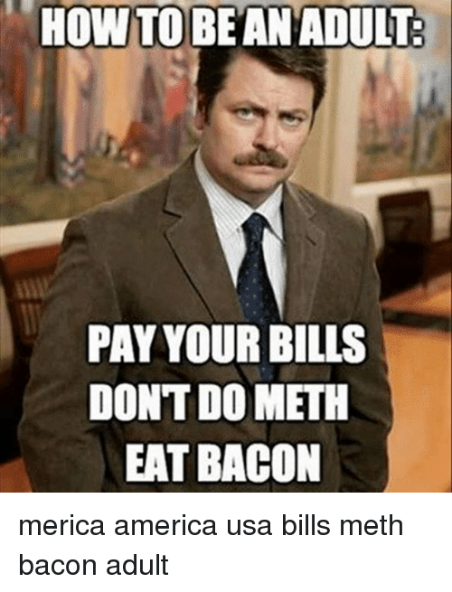 America, Memes, and Bacon: PAY YOUR BILLS  DONTDOMETH  EAT BACON merica america usa bills meth bacon adult