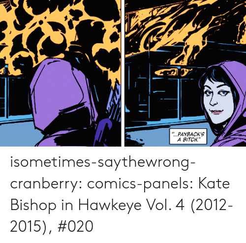 "vol: ""...PAYBACK'S  A BITCH isometimes-saythewrong-cranberry:  comics-panels:   Kate Bishop in Hawkeye Vol. 4 (2012-2015), #020"