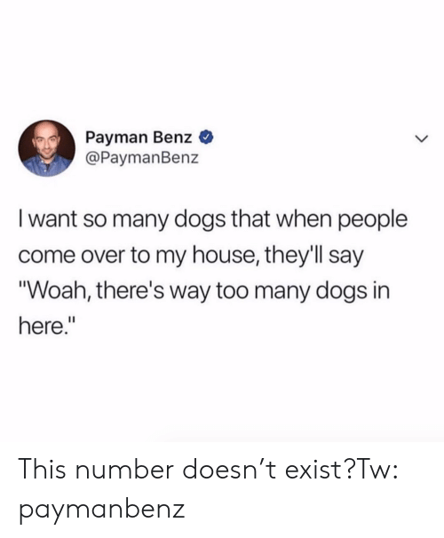 """benz: Payman Benz  @PaymanBenz  I want so many dogs that when people  come over to my house, they'll say  """"Woah, there's way too many dogs in  here."""" This number doesn't exist?Tw: paymanbenz"""
