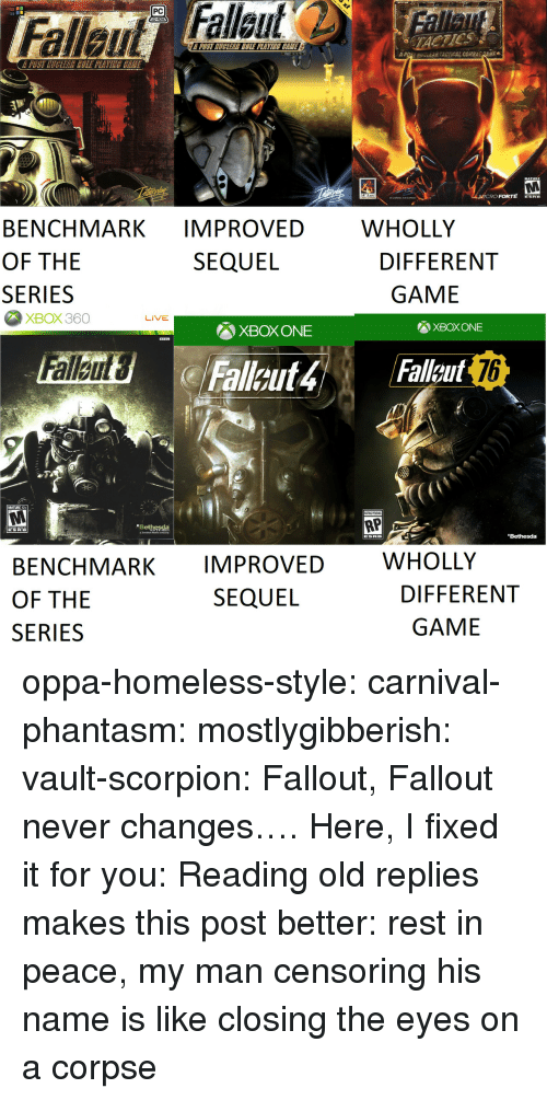 ere: PC  TACTICS  POST MUGLEAR COLE PLAVINE CEME  A  uv-EAR TACTICAL COMB  Ee  MATURE  RO FORTE ERE  WHOLLY  BENCHMARK IMPROVED  OF THE  SERIES  SEQUEL  DIFFERENT  GAME  XBOX360  LIVE  XBOX ONE  XBOX ONE  76  MATURE 17+  RP  Bethesda  Bethesda  WHOLLY  BENCHMARK IMPROVED  OF THE  SERIES  SEQUEL  DIFFERENT  GAME oppa-homeless-style: carnival-phantasm:  mostlygibberish:  vault-scorpion: Fallout, Fallout never changes…. Here, I fixed it for you:  Reading old replies makes this post better: rest in peace, my man   censoring his name is like closing the eyes on a corpse