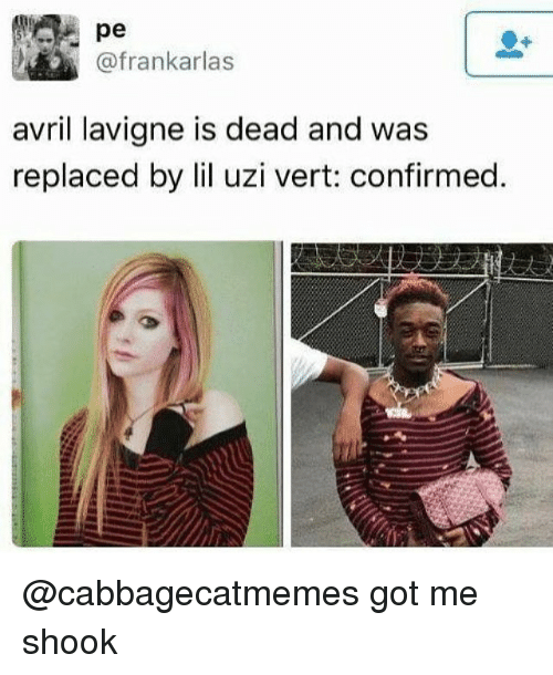 Dank Memes, Avril Lavigne, and Got: pe  @frankarlas  avril lavigne is dead and was  replaced by lil uzi vert: confirmed. @cabbagecatmemes got me shook