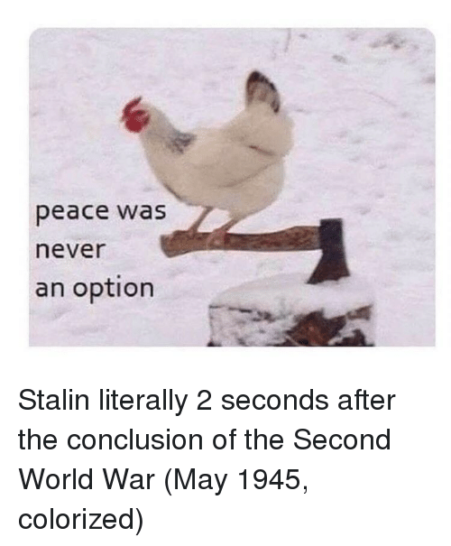stalin: peace was  never  an option Stalin literally 2 seconds after the conclusion of the Second World War (May 1945, colorized)
