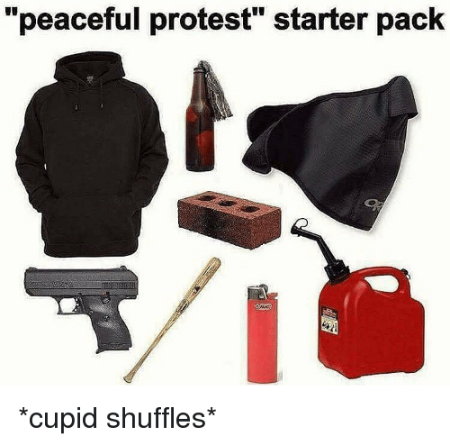 """peaceful protest: """"peaceful protest"""" starter pack *cupid shuffles*"""