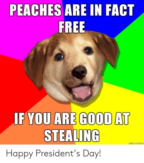 peaches: PEACHES ARE IN FACT  FREE  IF YOU ARE GOOD AT  STEALING  hade an mgur Happy President's Day!