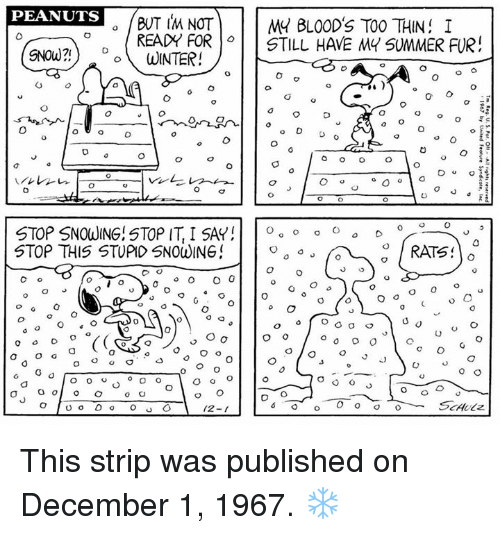 Stop Snowing: PEANUTS  BUT IM NOT  READY FORSTILL HAVE MY SUMMER FUR  MY BLO0D'S TOO THIN I  SNOW?)WINTER!  Do  STOP SNOWING! STOP IT, I SAY! | | o。。。。。。。  STOP THIS STUPID SNOWING  0  2-1 This strip was published on December 1, 1967. ❄️
