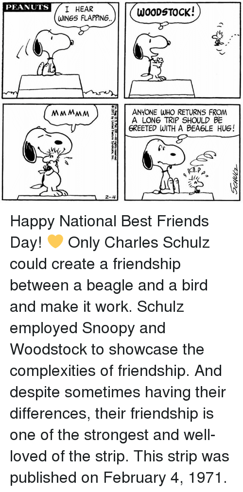 flapping: PEANUTS  I HEAR  WOODSTOCK!  WINGS FLAPPING  MMMMM ANYONE WHO RETURNS FROM  A LONG TRIP SHOULD BE  6REETED WITH A BEA6LE HUG!  2-4 Happy National Best Friends Day! 💛 Only Charles Schulz could create a friendship between a beagle and a bird and make it work.  Schulz employed Snoopy and Woodstock to showcase the complexities of friendship. And despite sometimes having their differences, their friendship is one of the strongest and well-loved of the strip. This strip was published on February 4, 1971.