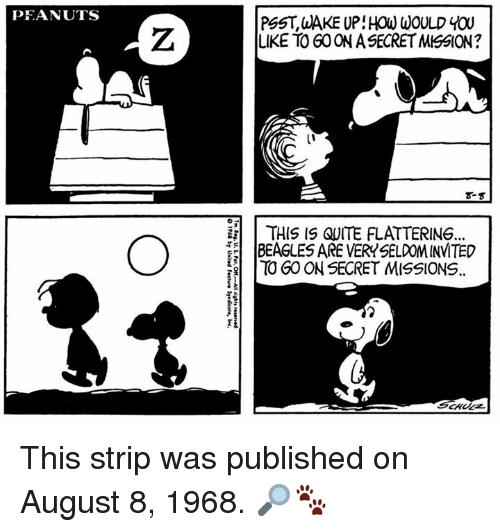 Memes, Quite, and August 8: PEANUTS  PSST, aAKE UP: HOW WOULD YOU  LIKE TO GO ON A SECRET MISSION  8-  | THIS IS QUITE FLATTERING.  하 IBEAGLESAREVERY SELDOM INVITED  TO GOON SECRET MISSIONS. This strip was published on August 8, 1968. 🔎🐾
